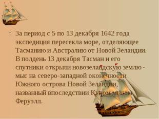За период с 5 по 13 декабря 1642 года экспедиция пересекла море, отделяющее Т