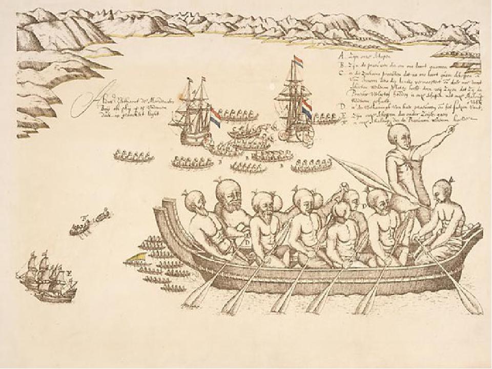 Здесь состоялась встреча с маори, которые вышли к кораблям на острых каноэ. С...