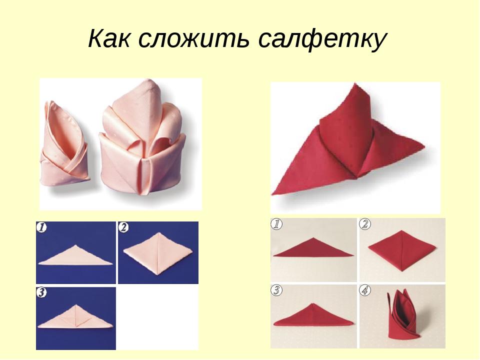 Как сложить салфетку верхнего треугольника.