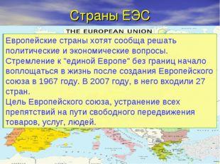 Страны ЕЭС Европейские страны хотят сообща решать политические и экономически
