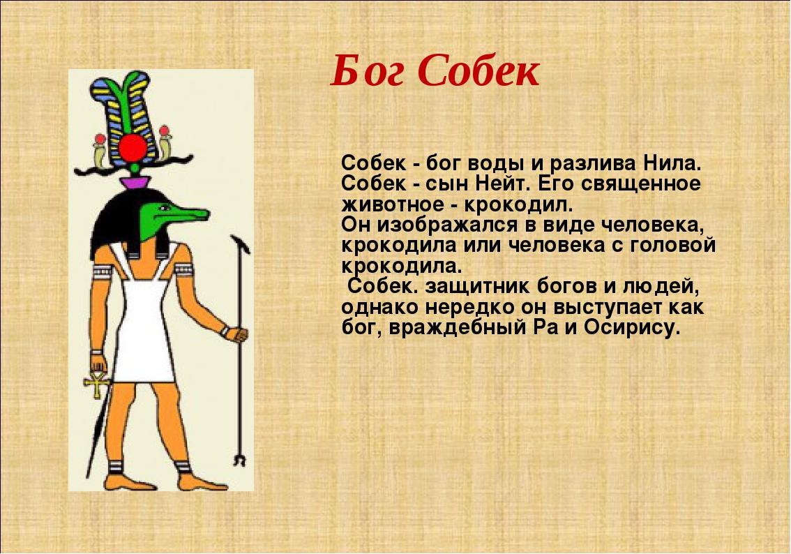 Бог Собек Собек - бог воды и разлива Нила. Собек - сын Нейт. Его священное жи...