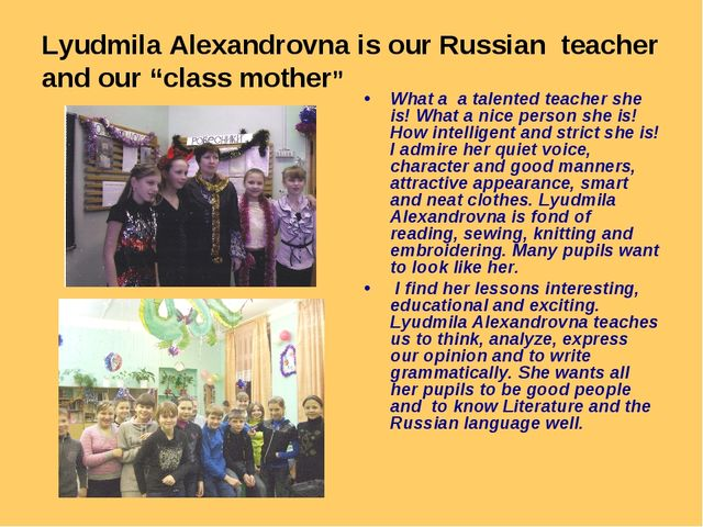 """Lyudmila Alexandrovna is our Russian teacher and our """"class mother"""" What a a..."""