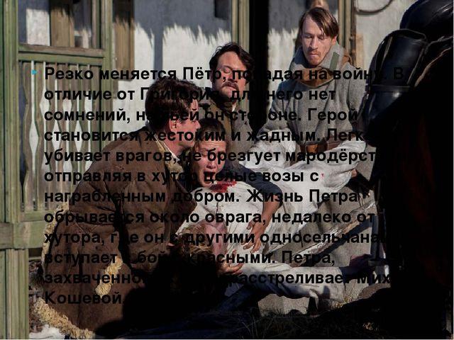 Резко меняется Пётр, попадая на войну. В отличие от Григория, для него нет со...