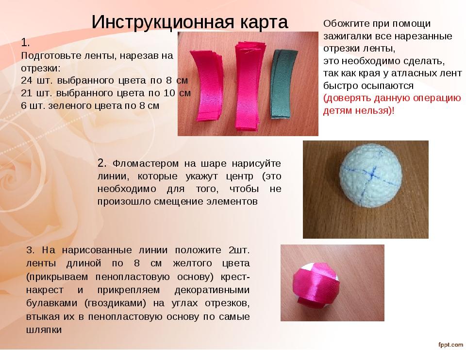 Инструкционная карта 1. Подготовьте ленты, нарезав на отрезки: 24 шт. выбранн...