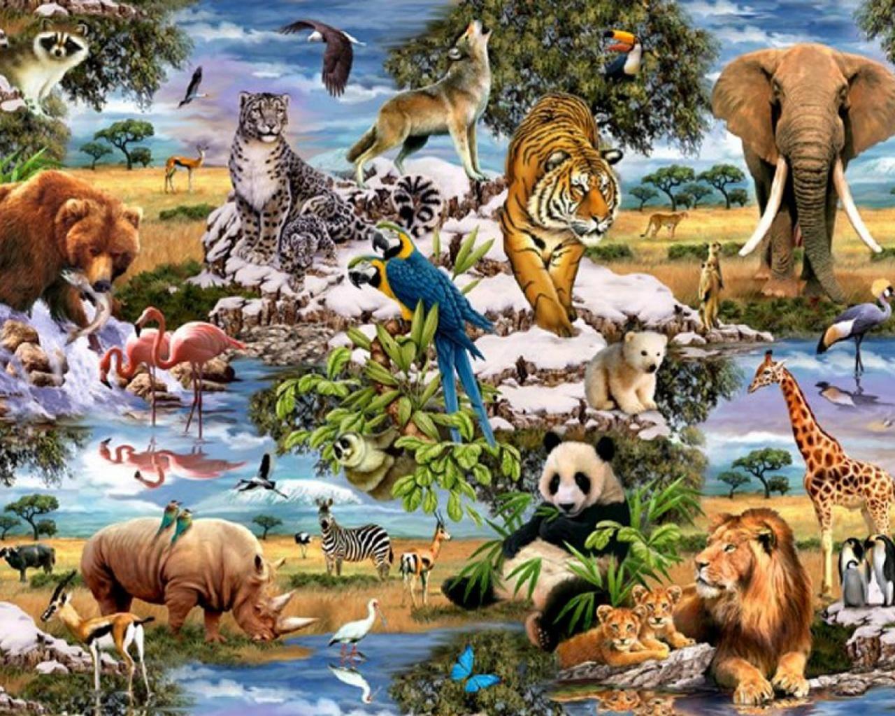 фотоколлаж на тему животный мир какие длинные тонкие