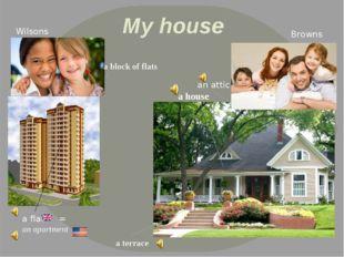 My house Wilsons Browns a house a terrace an attic a flat an apartment = a bl