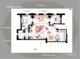 Browns' house a nursery a kitchen a study a bedroom a bathroom a lounge a din