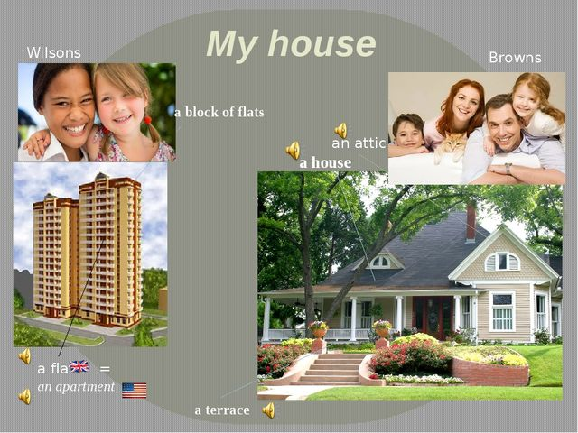 My house Wilsons Browns a house a terrace an attic a flat an apartment = a bl...