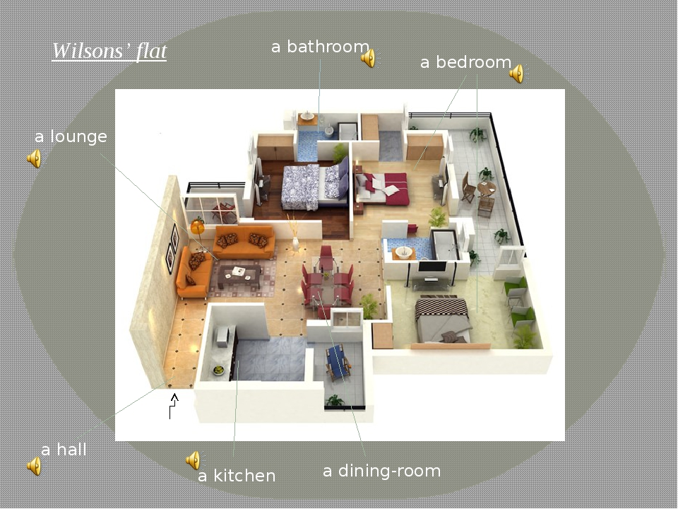 Wilsons' flat a hall a dining-room a kitchen a bathroom a bedroom a lounge en...