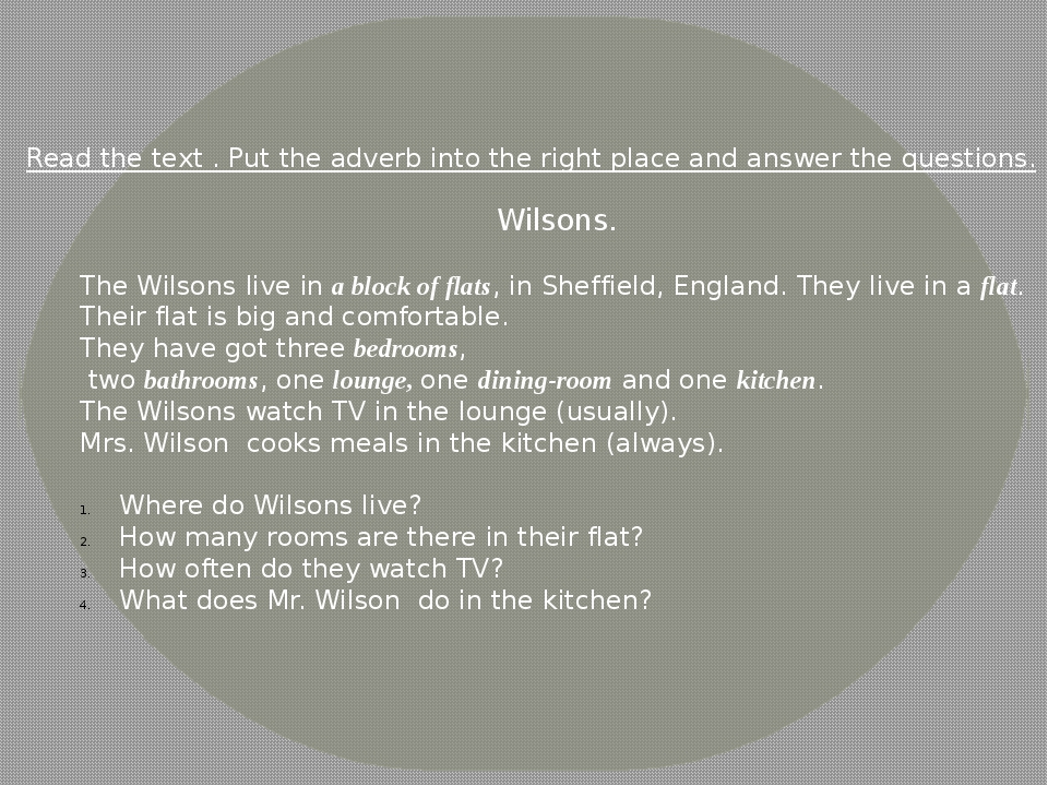 Wilsons. The Wilsons live in a block of flats, in Sheffield, England. They li...