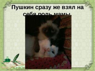 Пушкин сразу же взял на себя роль мамы.