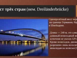 Мост трёх стран (нем.Dreiländerbrücke) Длина— 248 м, это самый длинный пеш