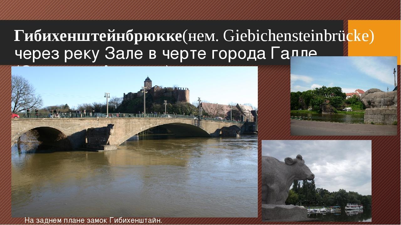 Гибихенштейнбрюкке(нем.Giebichensteinbrücke) через реку Зале в черте города...