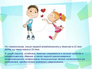 По статистике, опыт первой влюбленности у девочек в 11 лет (60%), а у мальчик
