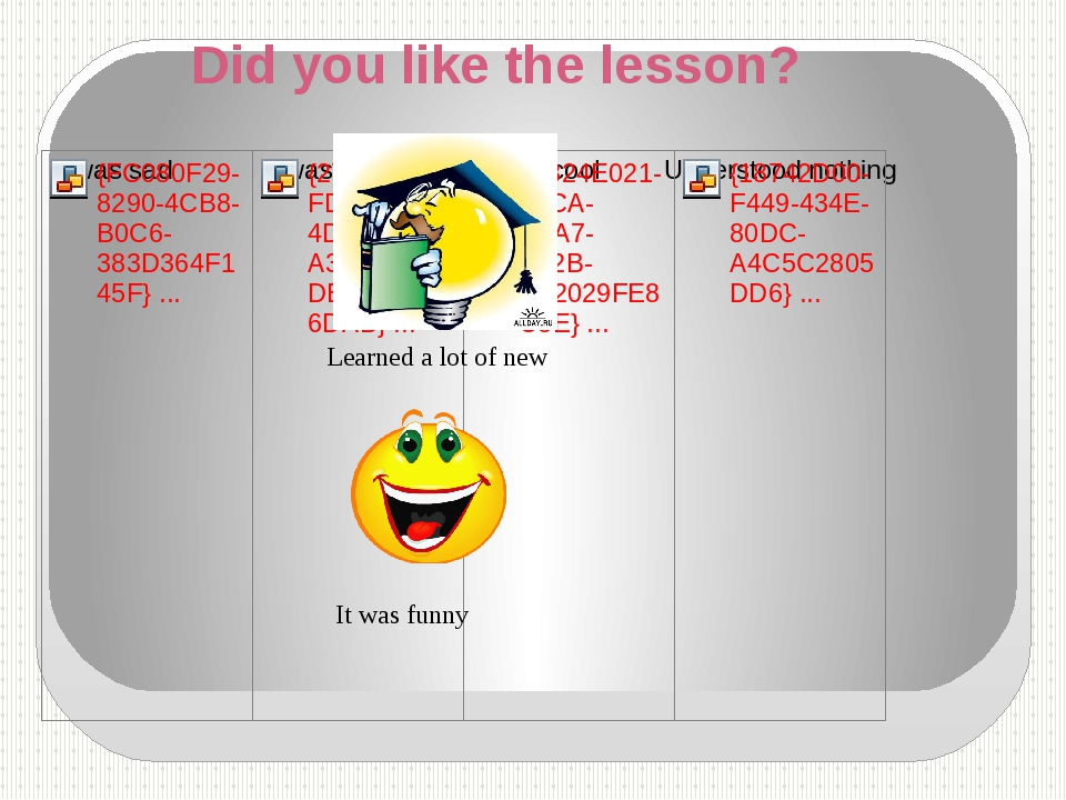 Did you like the lesson? Learned a lot of new It was funny