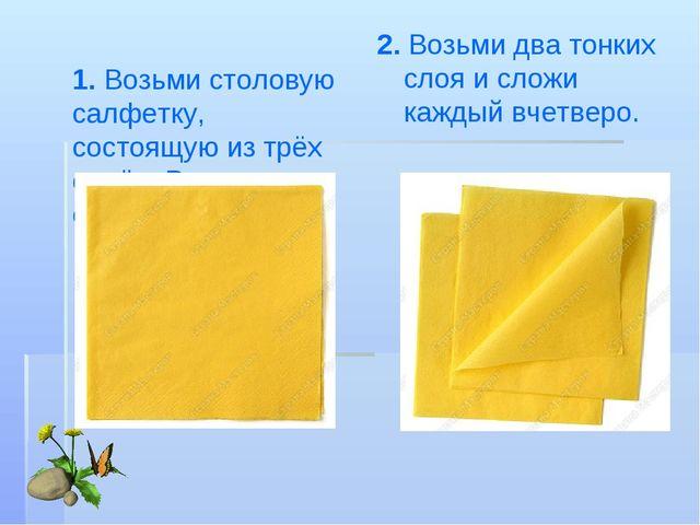 1. Возьми столовую салфетку, состоящую изтрёх слоёв. Раздели все слои. 2. Во...