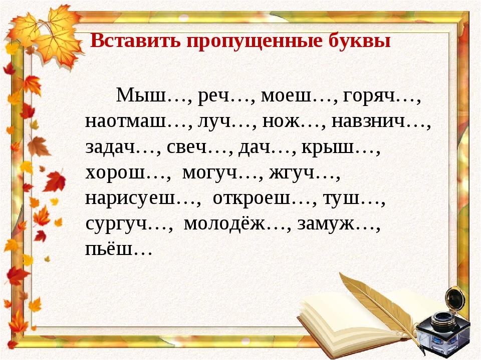 Вставить пропущенные буквы Мыш…, реч…, моеш…, горяч…, наотмаш…, луч…, нож…, н...