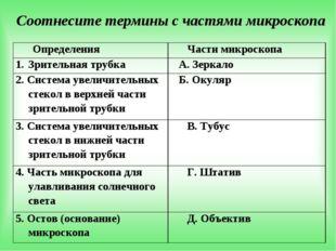 Соотнесите термины с частями микроскопа Определения Части микроскопа Зрител