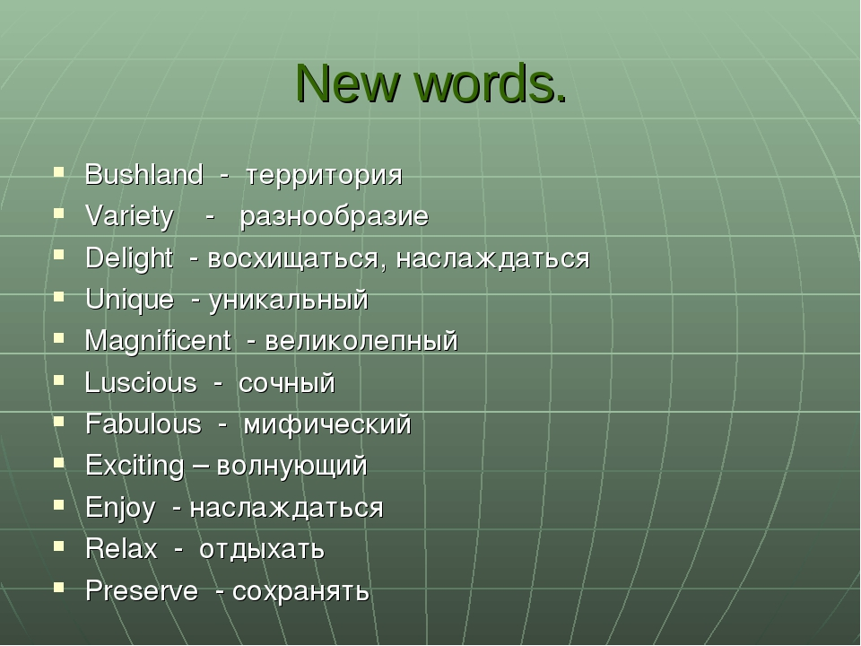New words. Bushland - территория Variety - разнообразие Delight - восхищаться...