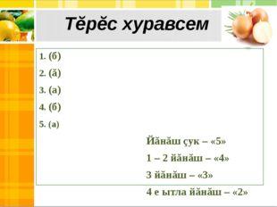 1. (б) 2. (ă) 3. (а) 4. (б) 5. (а) Йăнăш çук – «5» 1 – 2 йăнăш – «4» 3 йăнăш