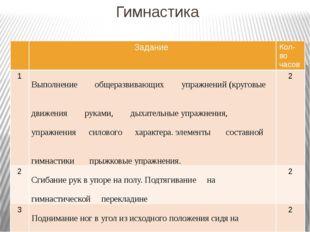Гимнастика Задание Кол-во часов 1 Выполнениеобщеразвивающих упражнений (круго