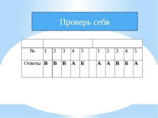 Проверь себя Вариант Вариант 1 Вариант 2 № 1 2 3 4 5  1 2 3 4 5 Ответы В В В