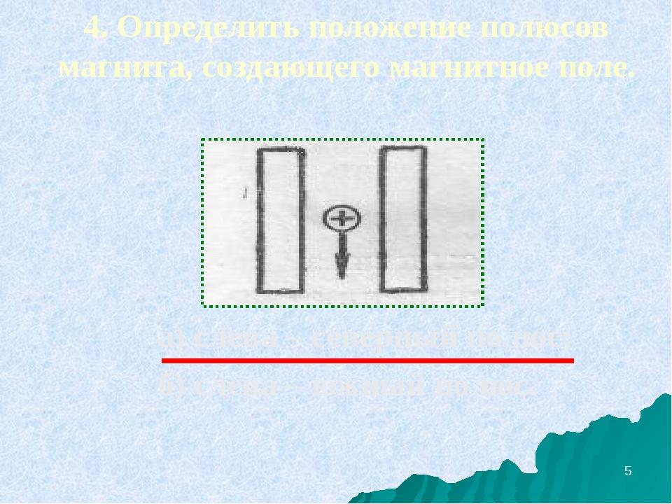 4. Определить положение полюсов магнита, создающего магнитное поле. а) слева...