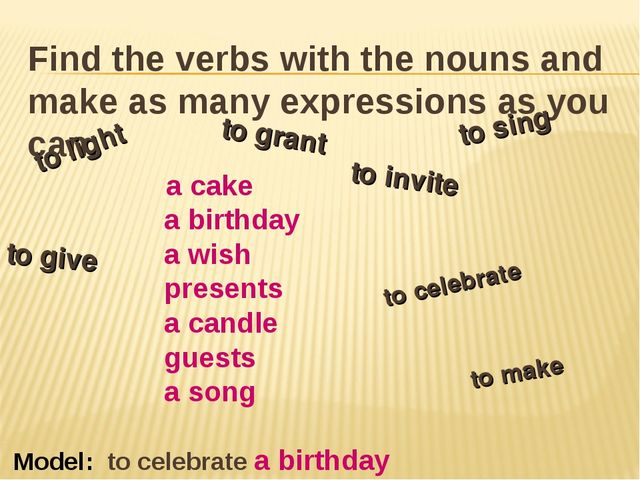 Find the verbs with the nouns and make as many expressions as you can. a cake...