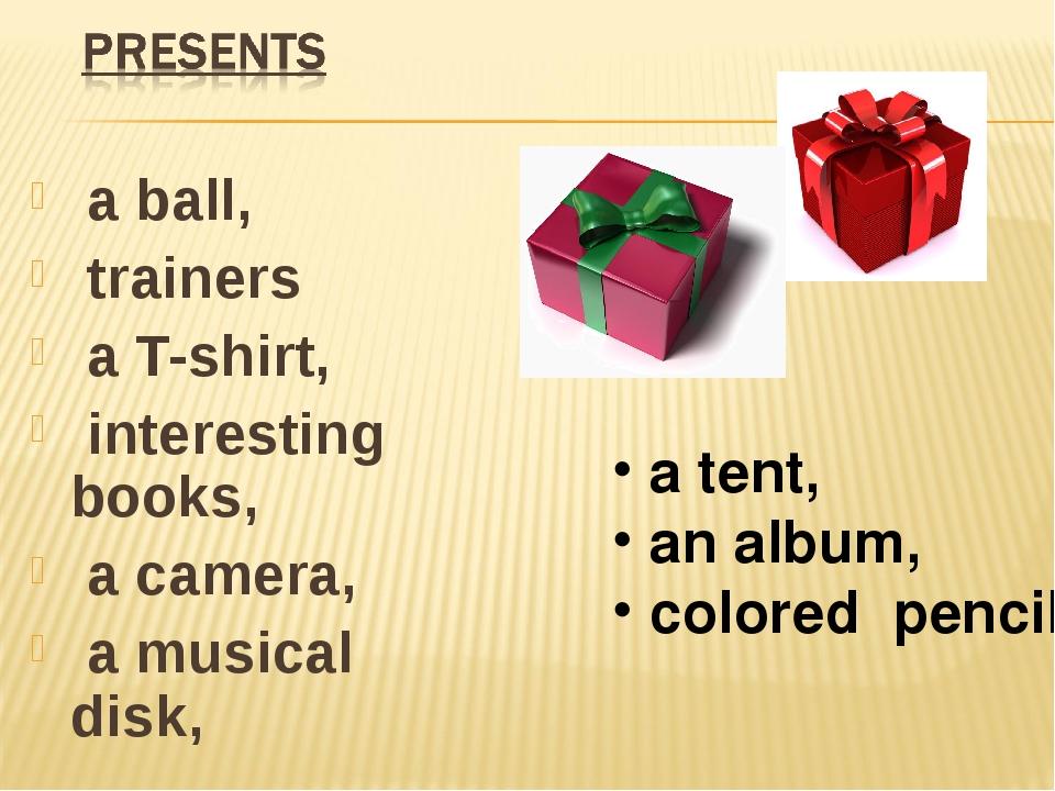 a ball, trainers a T-shirt, interesting books, a camera, a musical disk, a t...