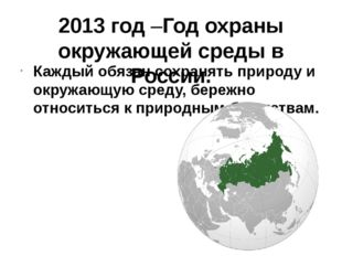2013 год –Год охраны окружающей среды в России. Каждый обязан сохранять приро