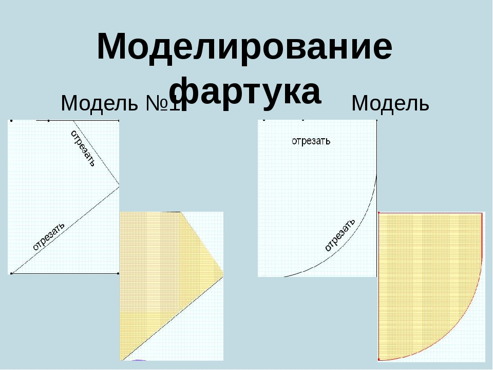 Модель №1 Модель №2 Моделирование фартука