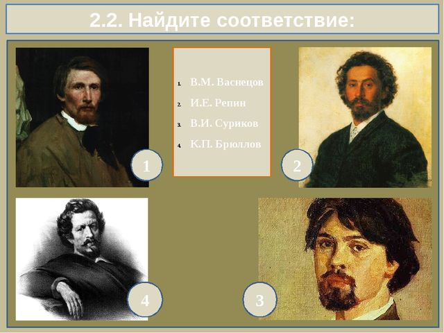 2.2. Найдите соответствие: 1 2 4 3 В.М. Васнецов И.Е. Репин В.И. Суриков К.П....