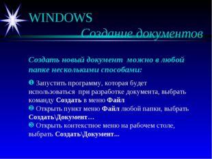 WINDOWS  Создание документов Создать новый документ можно в любой папке нес