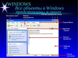 WINDOWS Все объекты в Windows представлены в окнах Кнопки управления окном