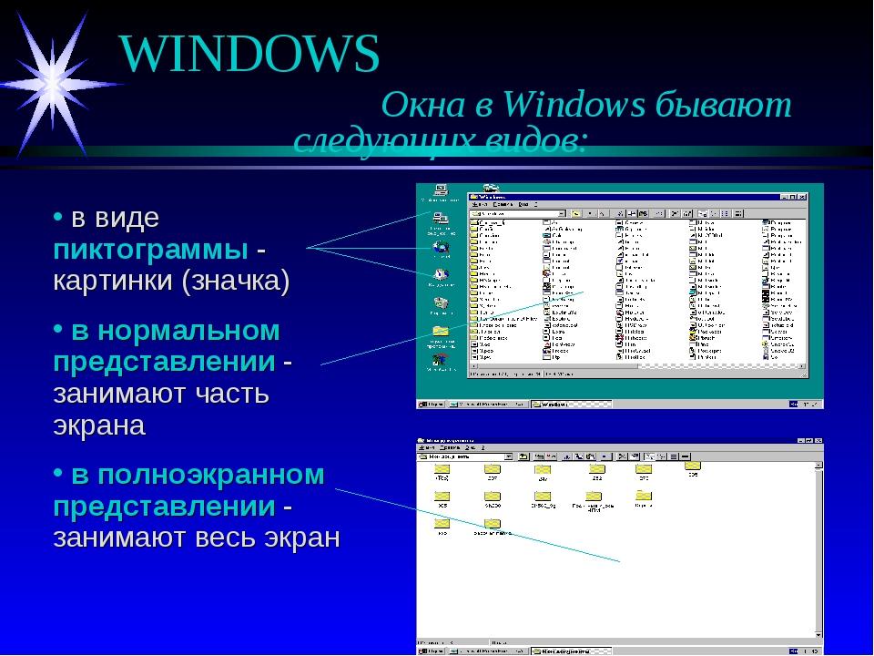 WINDOWS Окна в Windows бывают следующих видов: в виде пиктограммы - кар...