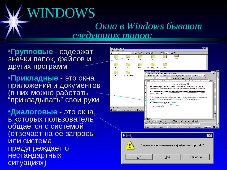 WINDOWS Окна в Windows бывают следующих типов: Групповые - содержат зна...