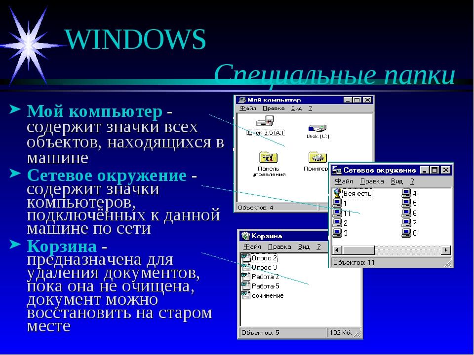 WINDOWS  Специальные папки Мой компьютер - содержит значки всех объектов,...
