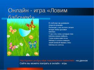 Онлайн - игра «Ловим бабочек!» В этой игре мы развиваем скорость реакции. Пос