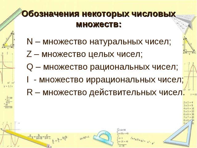 Обозначения некоторых числовых множеств: N – множество натуральных чисел; Z –...