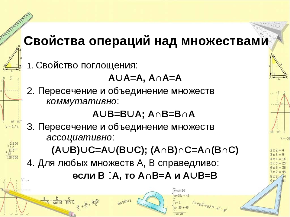 Свойства операций над множествами 1. Свойство поглощения: AA=A, A∩A=A 2. Пер...