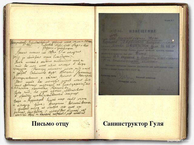 Письмо отцу Санинструктор Гуля