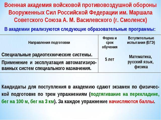 Военная академия войсковой противовоздушной обороны Вооруженных Сил Российско...