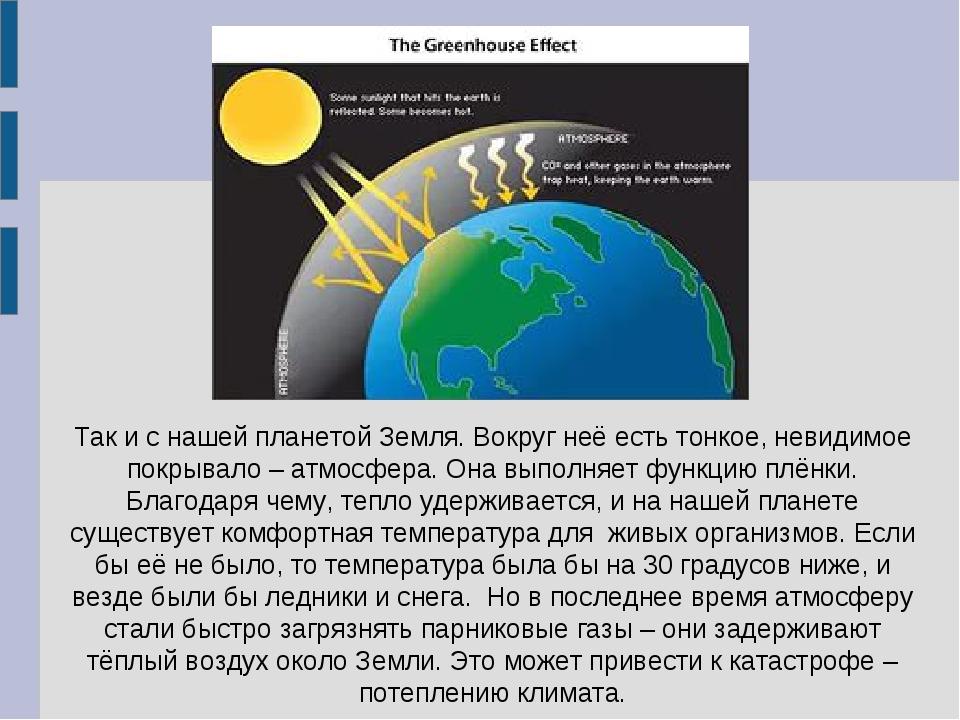 Так и с нашей планетой Земля. Вокруг неё есть тонкое, невидимое покрывало – а...