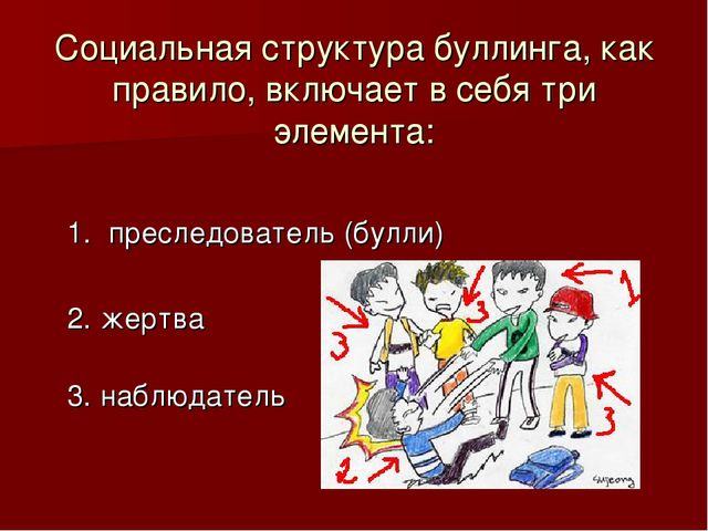 Социальная структура буллинга, как правило, включает в себя три элемента: 1....