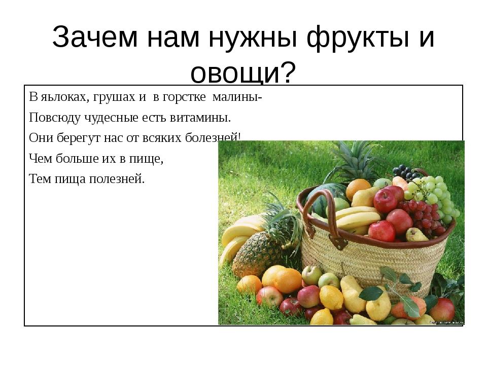 Зачем нам нужны фрукты и овощи? В яьлоках, грушах и в горстке малины- Повсюду...