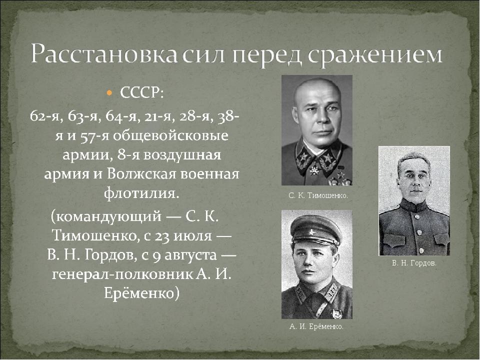 С. К. Тимошенко. В. Н. Гордов. А. И. Ерёменко.