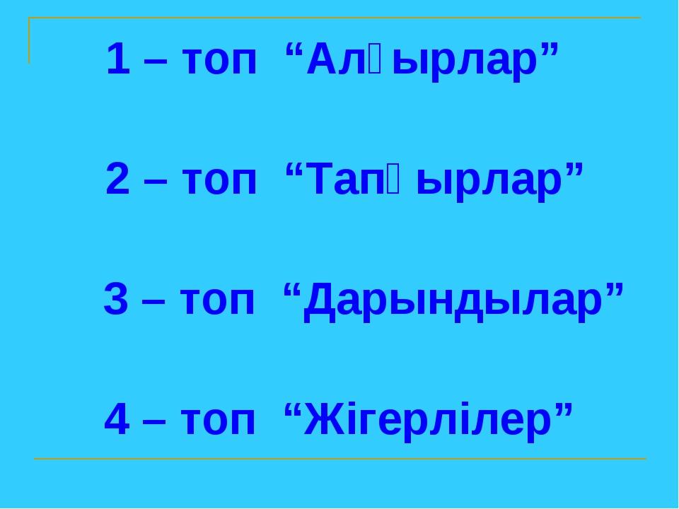 """1 – топ """"Алғырлар"""" 2 – топ """"Тапқырлар"""" 3 – топ """"Дарындылар"""" 4 – топ """"Жігерліл..."""