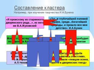 Составление кластера Например, при изучении творчества И.А.Бунина И.А.Бунин «