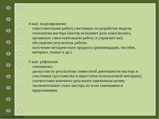 4 шаг: моделирование самостоятельная работа участников по разработке модели,