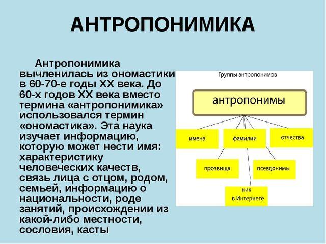 АНТРОПОНИМИКА Антропонимика вычленилась из ономастики в 60-70-е годы XX века....